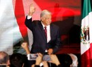 Presidential candidate Andres Manuel Lopez Obrador waves as he addresses supporters after polls closed in the presidential election, in Mexico City, Mexico July 1, 2018.   REUTERS/Carlos Jasso - RC1BC0E9AAC0